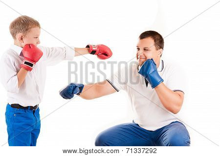 young father of boxing with son