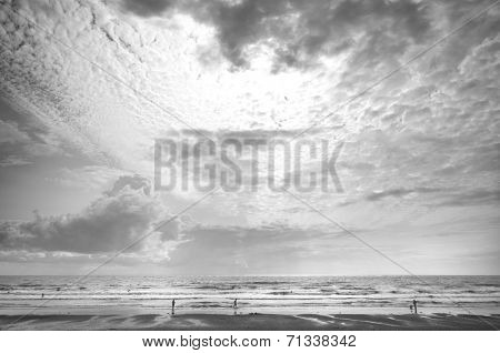 Seascape black and white clouds on the beach view to the horizon beautiful scenery