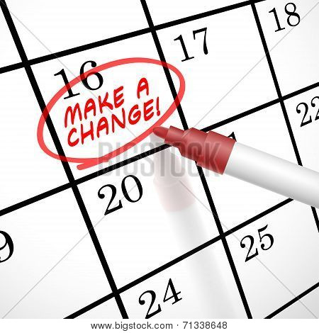 Make A Change Words Circle Marked On A Calendar