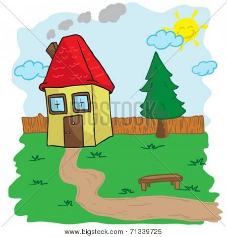 house with yard and bench cartoon illustration