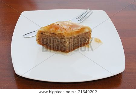 Baklava On White Plate