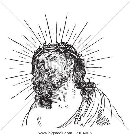 antique Jesus Christ engraving (vector)