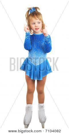 Skates Girl In Blue Dress.
