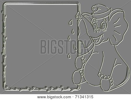 Metal Relief Elephant With Message Box