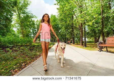 Beautiful teenage girl walking her dogs
