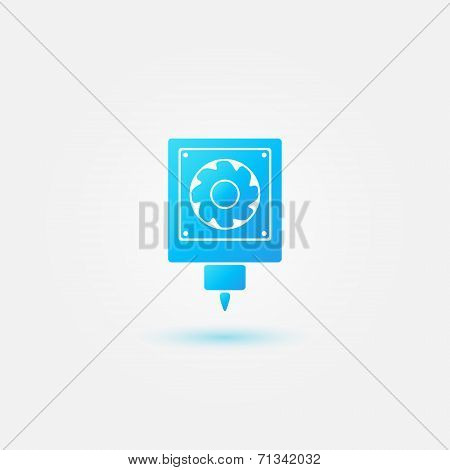 3D printer bright blue vector simple icon