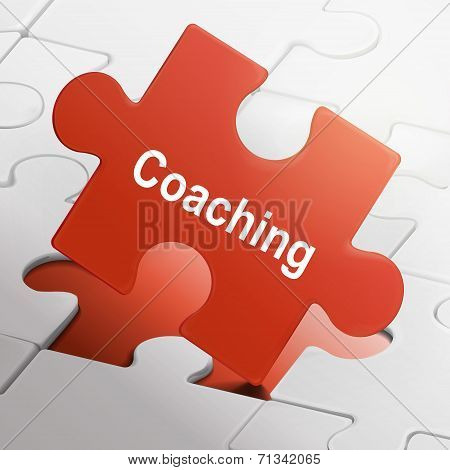 Coaching Word On Red Puzzle Pieces
