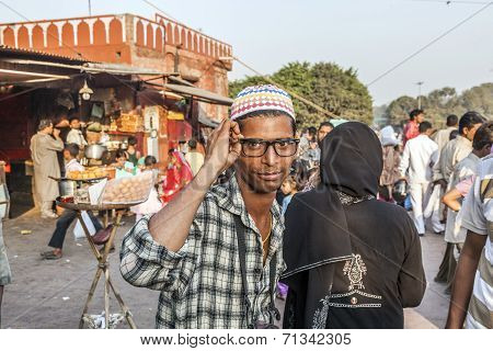 Young Man With Modern Glasses At The Meena Bazaar