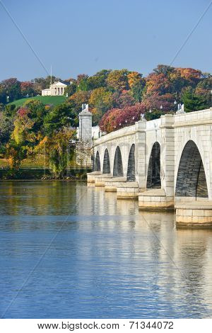 Arlington Memorial Bridge and National Cemetery in Autumn - Washington D.C. United States of America
