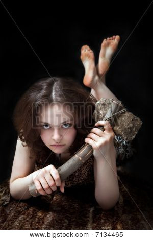 Prehistoric Woman With The Stone Axe
