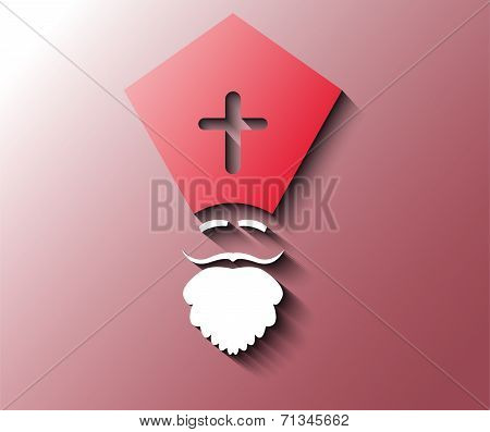 Illustration Of Dutch Sinterklaas On Red Background