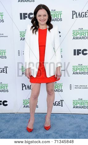 LOS ANGELES - MAR 01:  Elisabeth Moss arrives to the Film Independent Spirit Awards 2014  on March 01, 2014 in Santa Monica, CA.