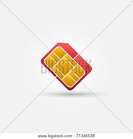 Micro SIM vector red simple icon