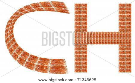 Alphabet made of red brick, Letter CH