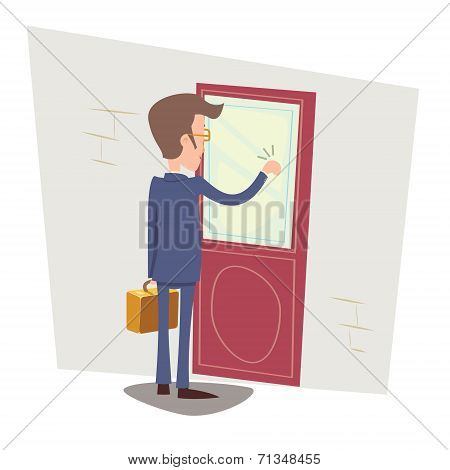 Oriented Happy Businessman with Briefcase Knocking at Customer Door on Stylish Background Retro Cart