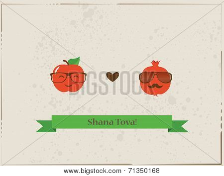 Hipster apple and pomegranate on a card for rosh hashana, jewish  New Year
