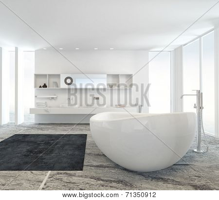 Modern bathroom interior with a freestanding white tub on a marble floor with double wall-mounted vanity unit behind between two floor to ceiling windows