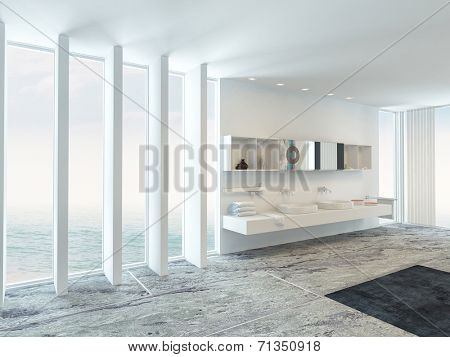 Very spacious bright modern bathroom interior with floor to ceiling plate glass windows on two sides and a double wall-mounted vanity unit with white walls and a marble tiled floor