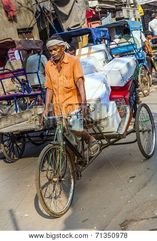 Cycle Rickshaws With Cargo Load In The Streets