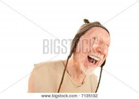 Laughing Senior Man In Knit Cap