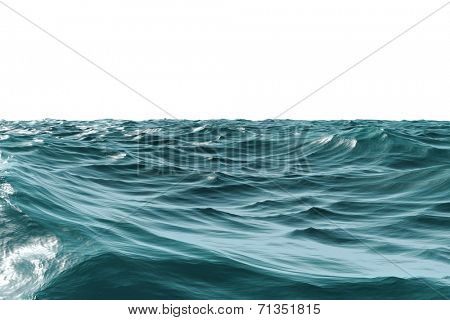 Digitally generated Rough blue ocean on white background