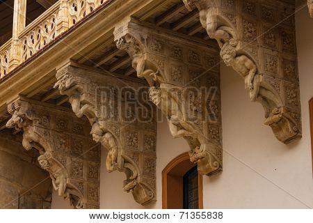 Beautiful Corbels In Salina Palace Located In Salamanca