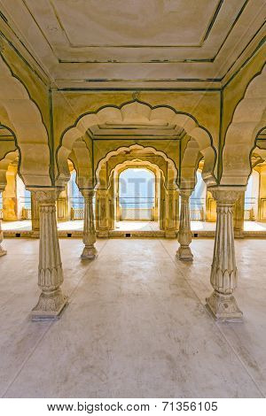 Columned Hall Of Amber Fort. Jaipur, India