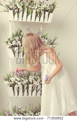 Beautiful Girl With Summer Flowers