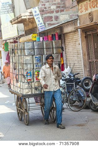 Man Transports Goods  Through The Narrow Roads In Jodhpur
