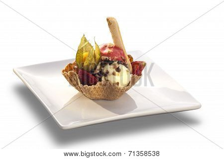 Ice Cream Sundae With Strawberry In Wafer Bowl On White Background