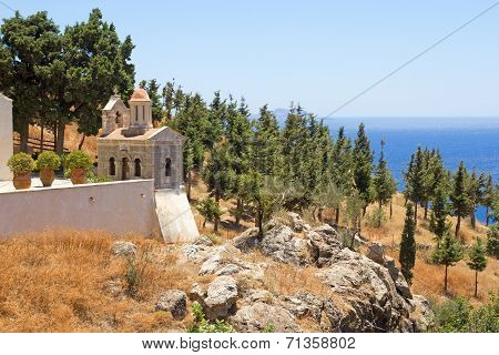 Church With Beautiful Sea View On Crete Island, Greece