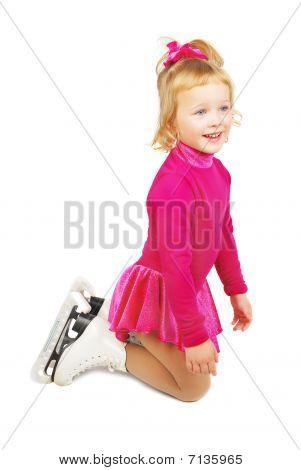 Skates Girl Staying  On Knees