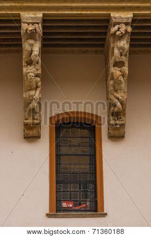 Corbels And Window Of Salina Palace In Salamanca