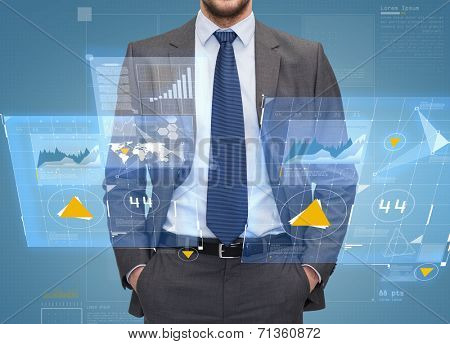 business, people and office concept - close up of businessman over blue graph and virtual screens projection background
