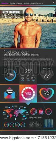 One page dating website flat UI design template. It include a lot of flat stlyle icons and elements. It could be used for a dating website with sample image.
