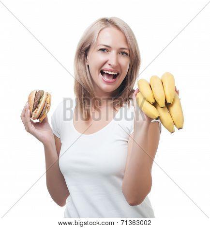 Woman  Makes Choosing Burger And Bananas