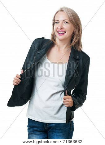 Young Beautiful Girl In A Leather Jacket Isolated On White Background