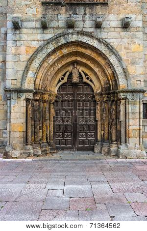Main Entrance Of The Romanesue Church Of Santa Maria De La Oliva In Villaviciosa Spain