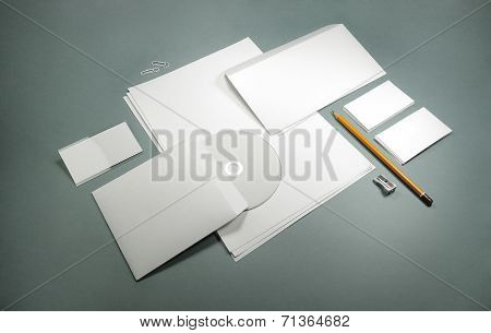 Blank Template For Business Cards, Letterheads, Envelopes And Badge
