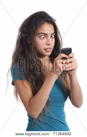 Obsessed Teenager Girl With The Mobile Phone Technology