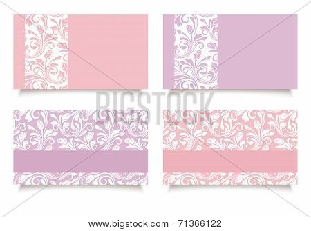 Pink and purple business cards with floral patterns. Vector EPS-10.