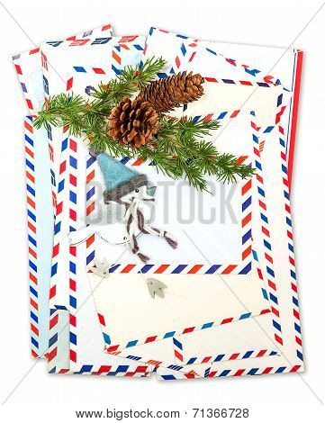 Vintage Air Mail Envelopes With Winter Bird Decoration