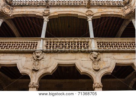 View Of Beautiful Balcony In The House Of Shells Courtyard Salamanca