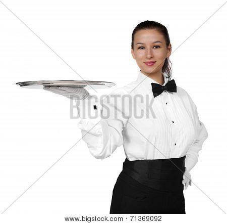 Pretty formal brunette server