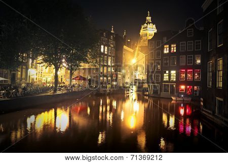 river in amsterdam city in th night