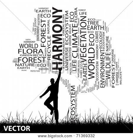 Vector concept or conceptual black harmony or ecology text word cloud as tree and grass, a man jumping isolated on white background