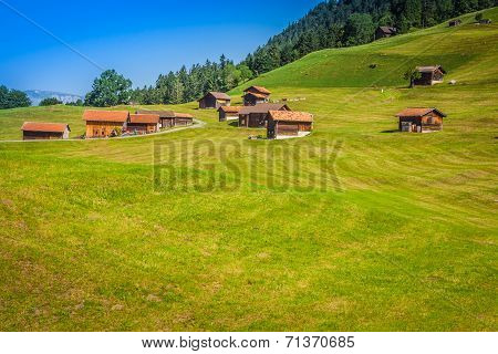 Wooden Houses In Malbun In Lichtenstein, Europe