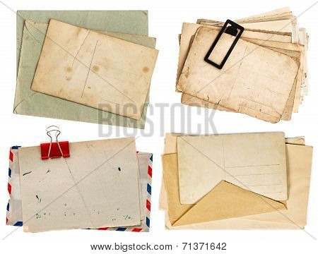 Vintage Letters And Postcards Isolated On White