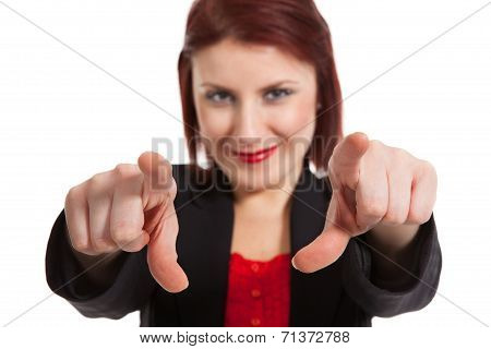 Woman Pointing At Viewer