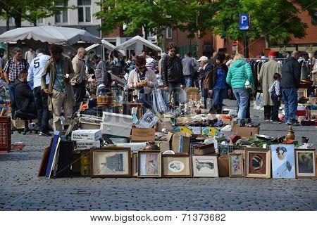 Flea Market On Place Du Jeu De Balle In Brussels, Belgium
